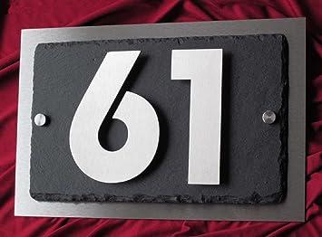 número de casa de acero inoxidable y pizarra - 3d número ...