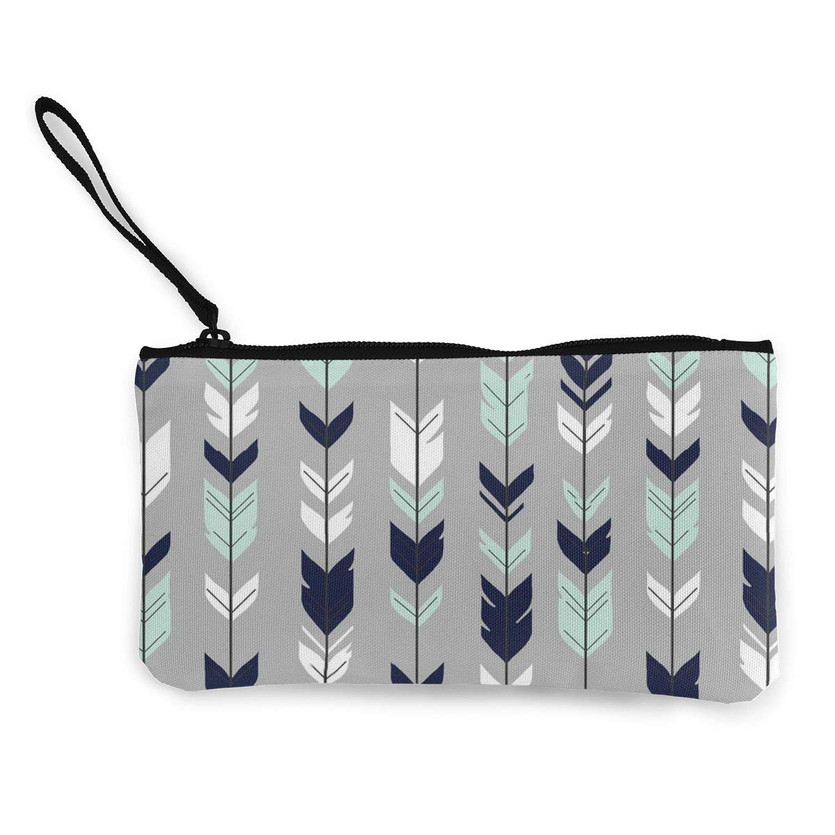 Arrow Feather Pattern Canvas Change Coin Purse Small Cute Money Bag With Zip
