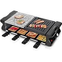 Cusimax Raclette grill con piedra natural y placa (superficie con ranuras), Parrilla eléctrica con Temperatura Regulable y Antiadherente 8 Mini-sartenes, CMRC-120, Negro