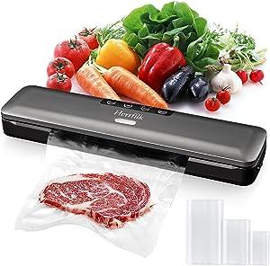 Vacuum Sealer Machine, Herrfilk Portable Automatic Food Sealer for Kitchen, Dry & Wet Food Sealers Vacuum Packing Machine with Led Indicator Lights/Suction Hose/15 Vacuum Bags