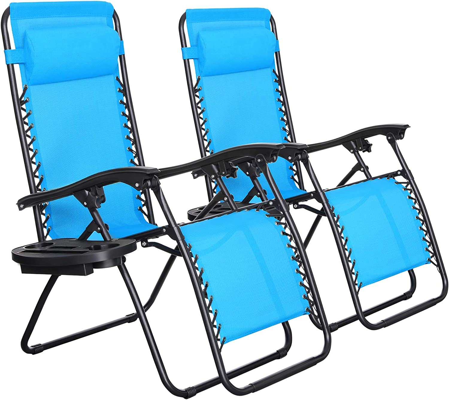 SONGMICS Zero Gravity Chairs, Set of 2 Outdoor Lounge Chairs, Patio Chaise Lounges, Reclining Comfortable Ergonomic Foldable and Lockable, with Headrest and Cup Holder, Blue UGCB001Q01