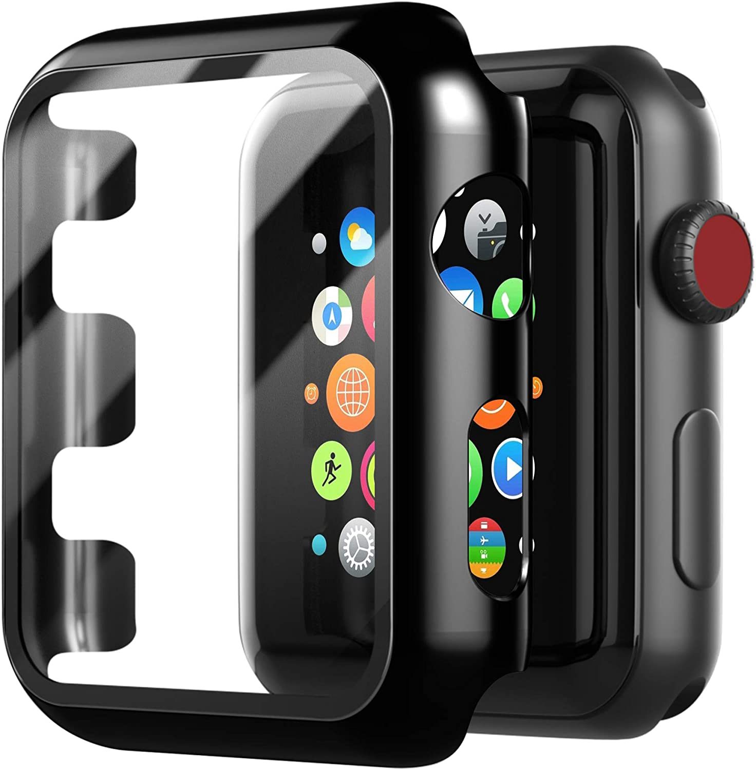 Juyya Compatible for Apple Watch Series 1/2/3 Case,Apple Watch Screen Protector Tempered Glass iWatch Hard PC Shockproof Cover Thin Bumper Full Protection i Watch Accessories (38mm, Black)