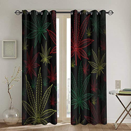 BJHAP Blackout Grommet Curtains Marijuana Cannabis Leaves Thermal Insulated Light Blocking Window Panel Draperies 2 Panels 52 x 84 Inch