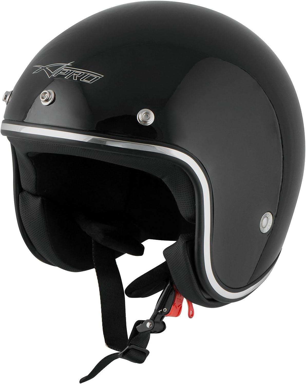 A-Pro Motorradhelm Jet Helmet Homologated ECE 22-05 schwarz custom scooter XS