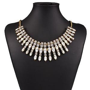 ARICO Moon Multi Layer Necklace Antique Gold Vintage Necklace Geometric Crystal Necklaces NE766