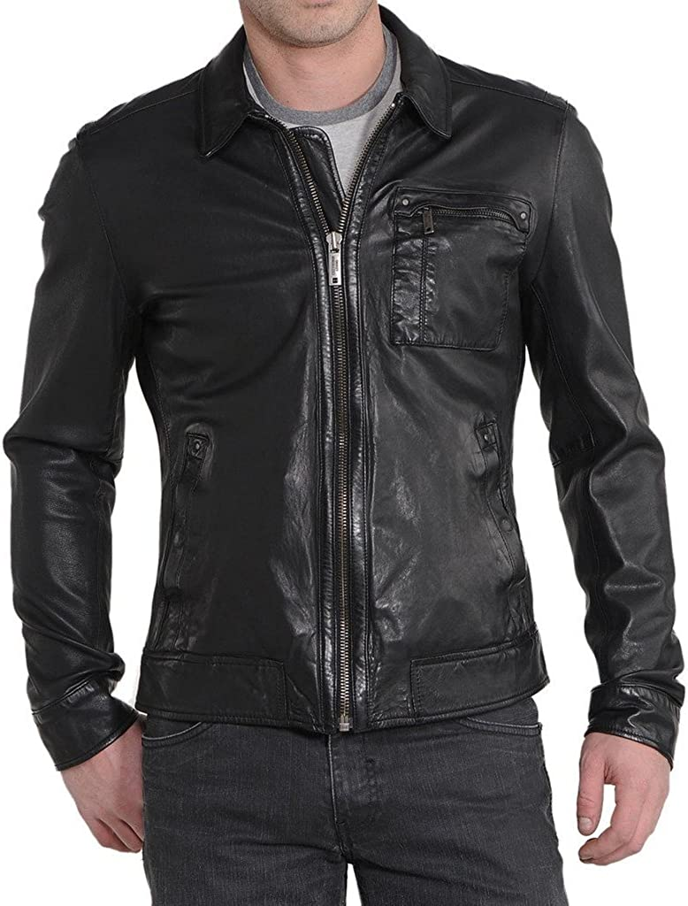 New Mens Cow Leather Motorcycle Jacket Slim fit Leather Jacket Coat KC531