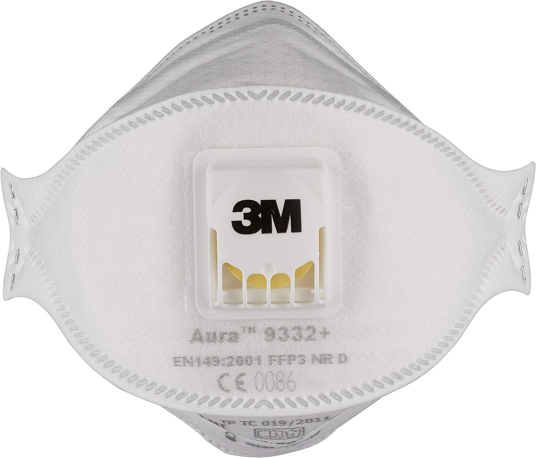 3M 9332PP - Mascarilla plegada con válvula, color blanco