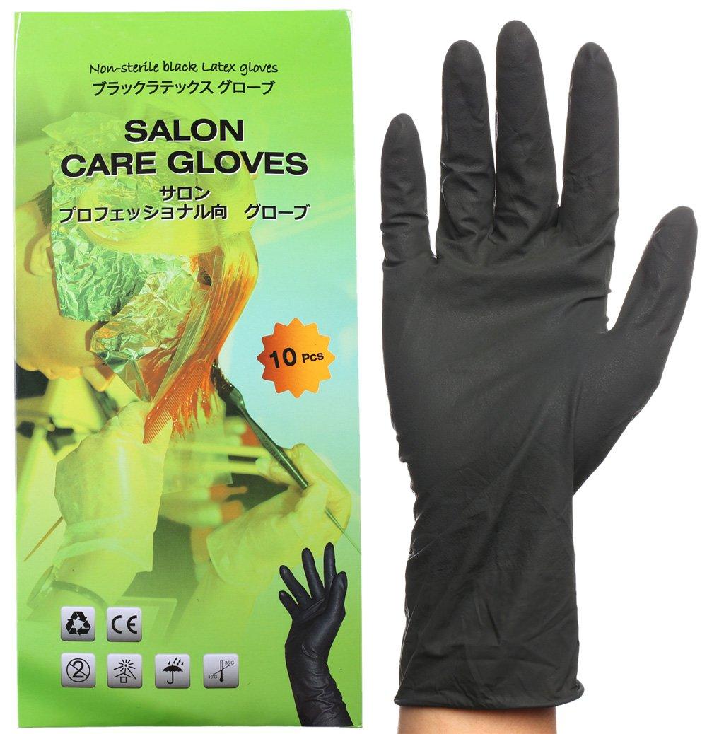 Gants en latex noirs ré utilisables, gants de salon de coiffure pour la teinture, Gants taille moyenne (paquet de 10). Perfehair