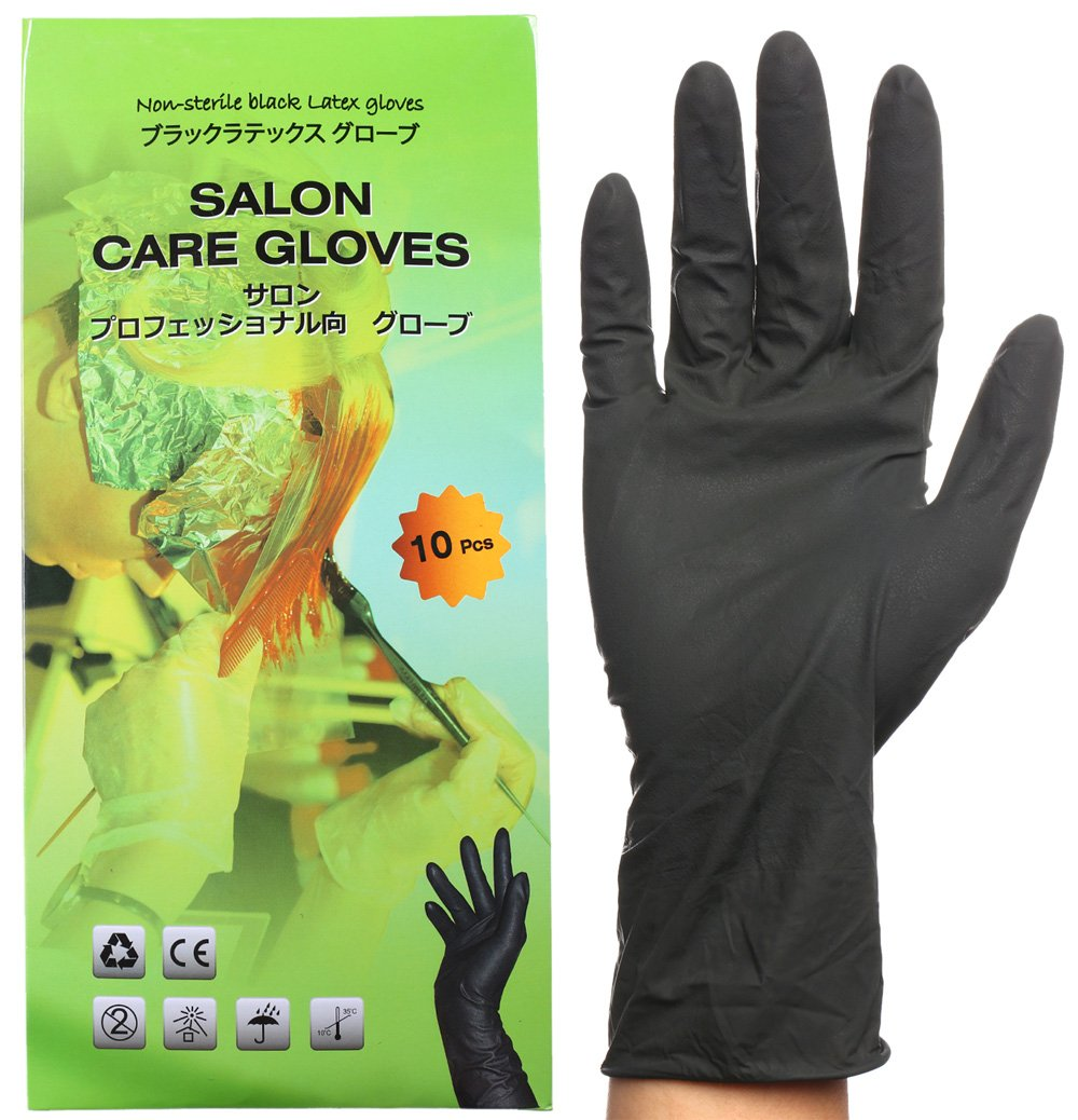 Black Reusable Latex Gloves, Salon Hair Color Dye Gloves-Medium size (Pack of 10) by Perfehair (Image #1)