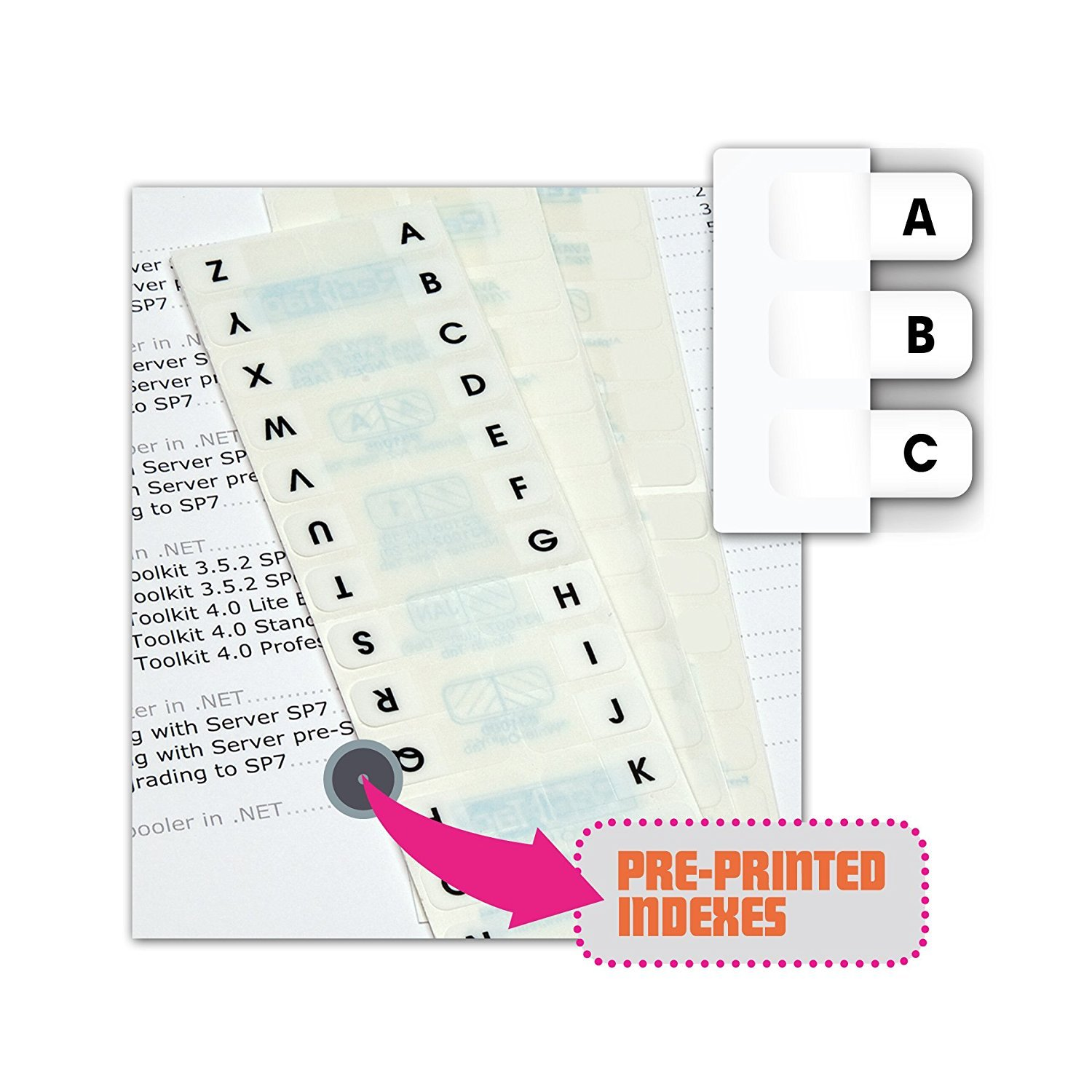 Redi-Tag Pre-Printed Index Tabs, A to Z, Permanent Adhesive, 7/16 x 1 Inches, 104 Tabs per Pack, White with Black Print (31005) 3-Pack