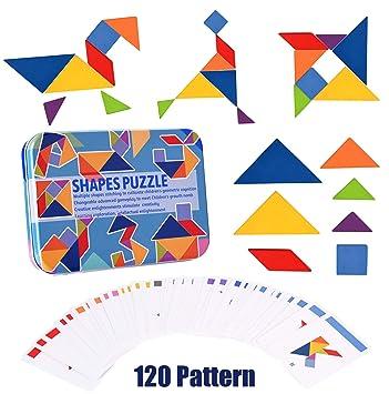 Wooden Pattern Blocks Montessori Tangram Puzzle Educational Toys Gift