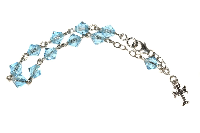Birthday /& More RCIA - Communion Confirmation March Child Rosary Bracelet Made w//Aquamarine Blue Swarovski Crystals