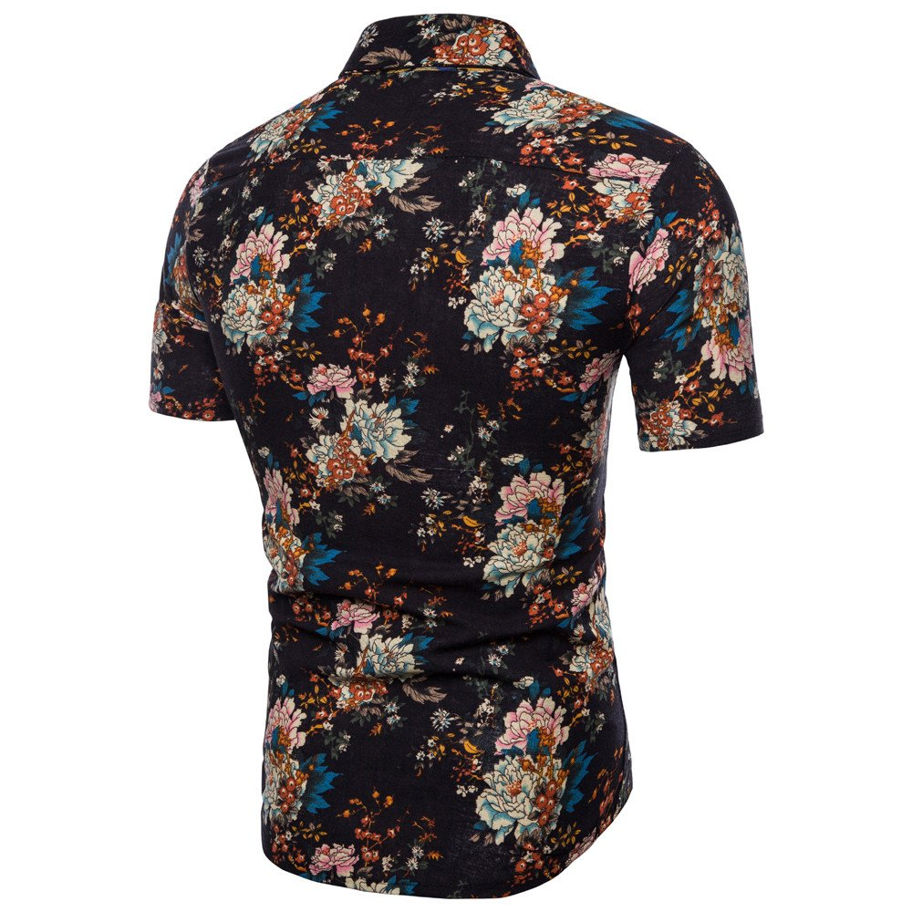 ZEFOTIM Men Summer Bohe Floral Short Sleeve Linen Basic T Shirt Blouse Top Plus Size