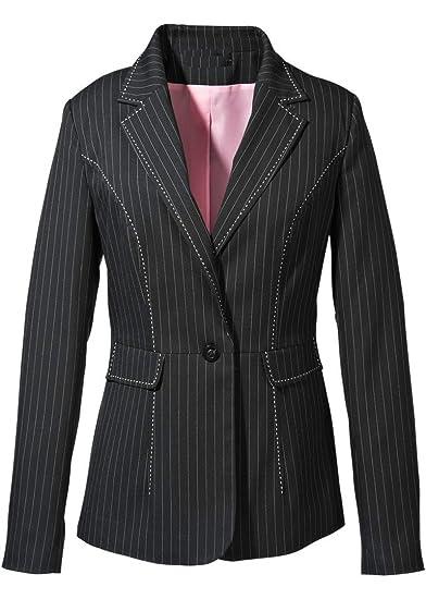 reputable site 05c78 e2ac1 Ago a righe giacca da body Flirt, Nero, cuciture bianche ...