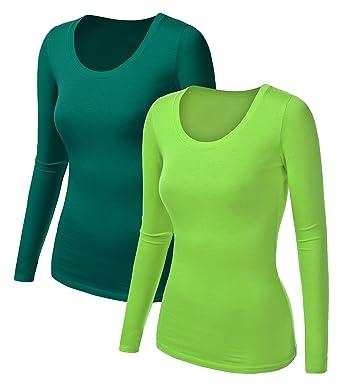 timeless design b0cf1 6759b 2x Damen Langarm T-Shirt - Basic TShirt - Basis Bluse ...
