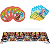 Mario Party Supplies,20 tissues + 20 Napkins + tablecloths, Mario Party Supplies Decoration
