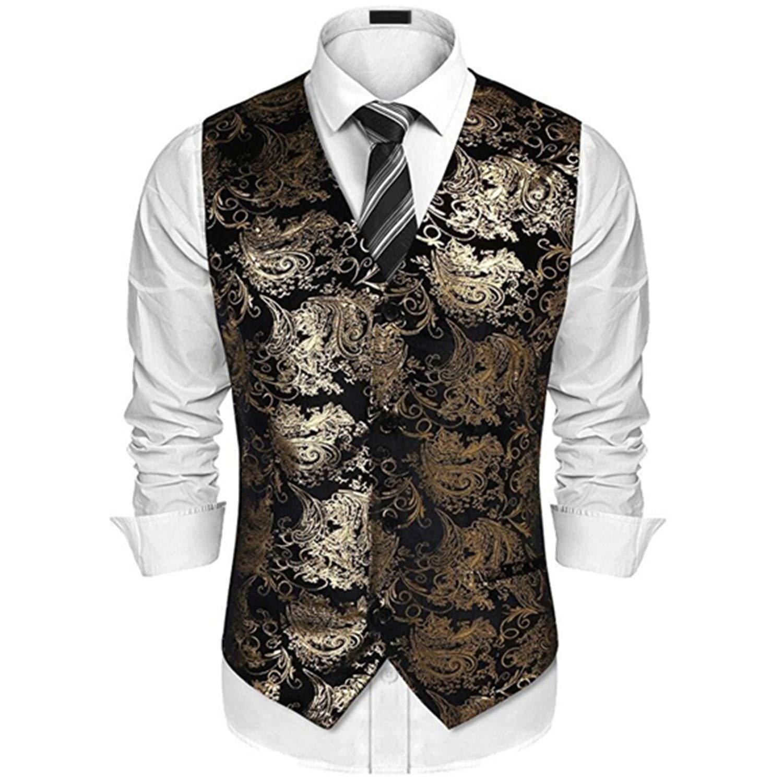 Gold Steampunk Vest Men Suit Wedding Sleeveless Slim Fit ...