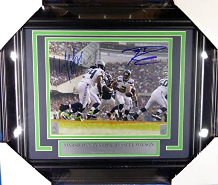 5fb54395c Russell Wilson   Marshawn Lynch Autographed Framed 8x10 Photo Seattle  Seahawks RW ...