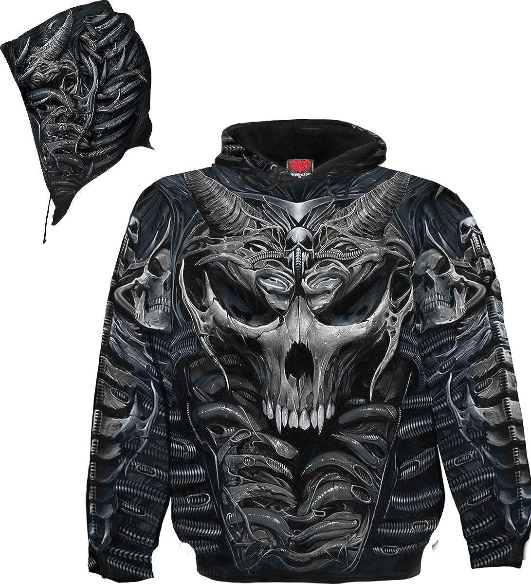 Allover Hoody Black Skull Armour Spiral