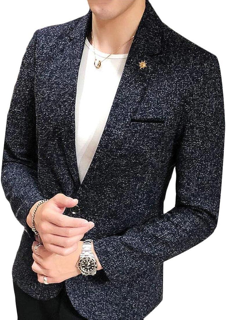 Mens Notched Lapel One Button Classic Blazer Jacket Coat Outerwear