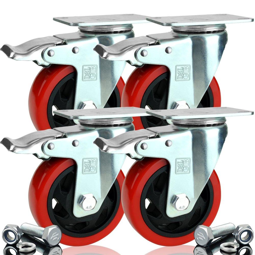 4/x Heavy Duty Doble Rodamientos con freno 100/mm de goma giratorio ruedas carrito ruedas 700/kg libre