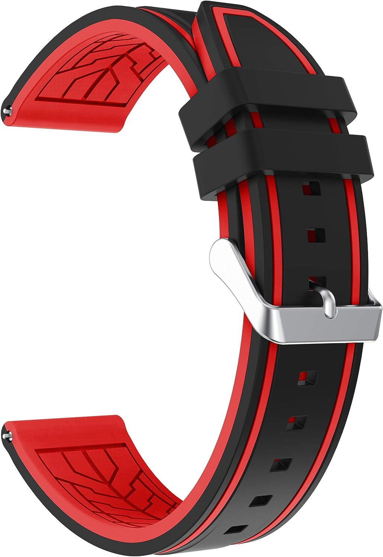 Fmway Repuesto de Correa Reloj 22mm de Silicona para Samsung Galaxy Watch 46mm / Gear S3 Frontier/Gear S3 Classic/Moto 360 2. Generation 46mm, Hombre y Mujer