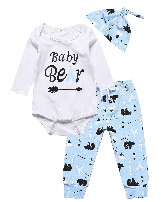 Paisdola Kinder Jungen//M/ädchen Kleidung Sets Lange Hosen 3 ST/ÜCKE Baby Cute Romper Langarmshirts Outfits Kleidung Hut