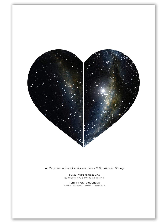Wedding Anniversary Newborn Gift Valentines Day Gift Custom Star Sky Map Print Birthday Gift to Her and Him UNFRAMED Heart Shape Navy Watercolor Texture Zodiac Constellation Wall Art