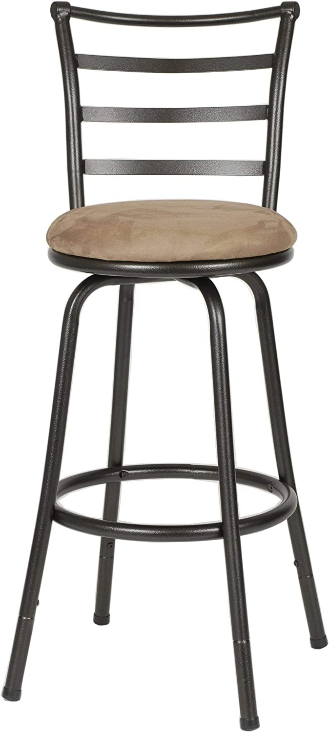 Roundhill Furniture Round Seat Bar Counter Height Adjustable Metal Bar Stool, Metallic Renewed