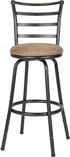 Roundhill Furniture Round Seat Bar Counter Height Adjustable Metal Bar Stool, Metallic Renewed