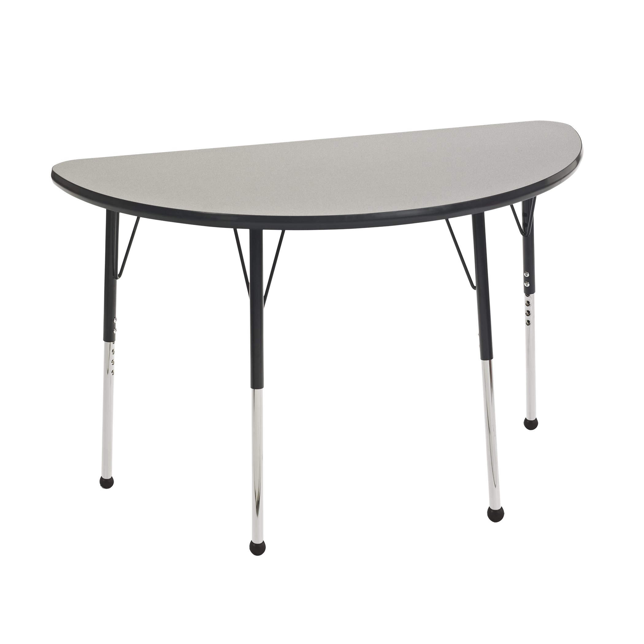 ECR4Kids Mesa Thermo-fused 24'' x 48'' Half Round School Activity Table, Standard Legs w/ Ball Glides, Adjustable Height 19-30 inch (Grey/Black)