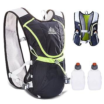 TRIWONDER Chaleco de Hidratación Ligero 8L Superior Mochila para Trail Running Ciclismo Maratón al Aire Libre Hombre Mujer (Negro - con 2 Botellas de Agua): ...