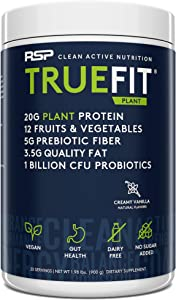 RSP TrueFit Vegan Protein Powder Meal Replacement Shake for Weight Loss, Plant Based Protein, Organic Real Food, Probiotics, Dairy Free, Gluten Free, 2 LB Creamy Vanilla