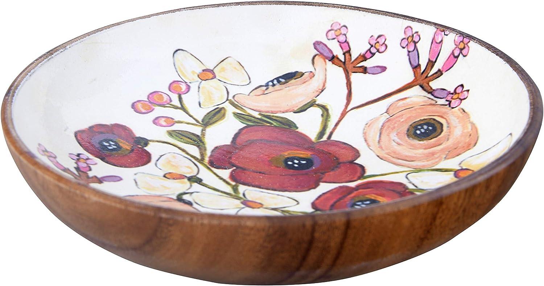 Creative Co-op Enameled Acacia Wood Flowers Bowl, Maroon