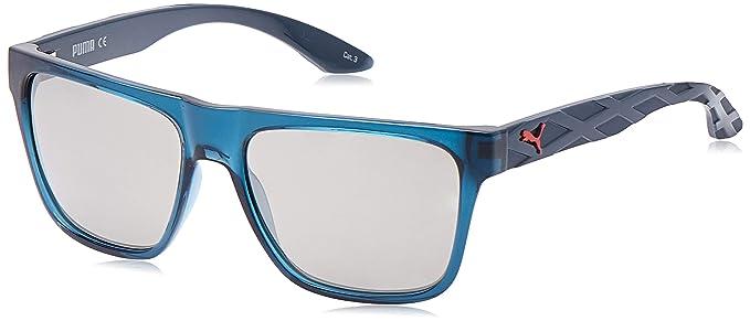 Puma PU0008S 005 Occhiali da Sole, Blu (BlueeSilver), 57 Uomo
