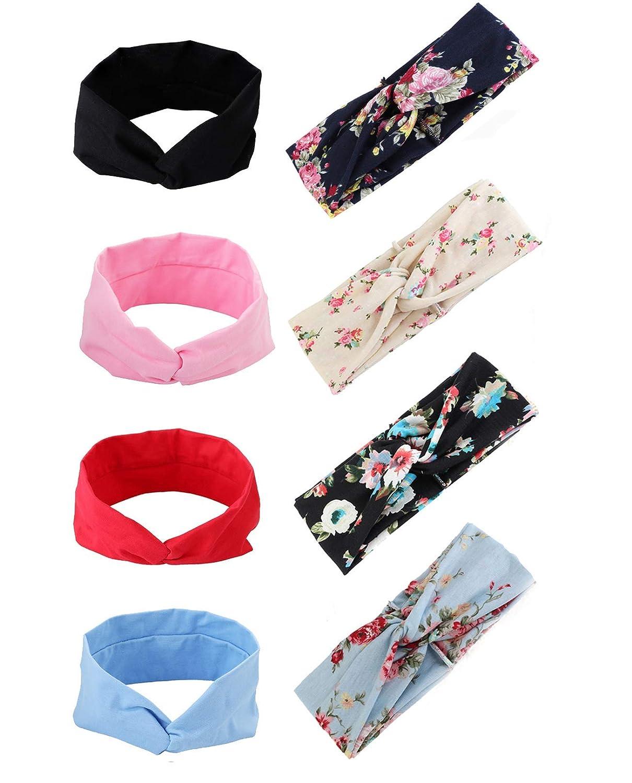 CASSIECA 8 Pcs Yoga Headbands for Women Boho Knotted Head Wrap Cross Elastic Hiking Hair Band