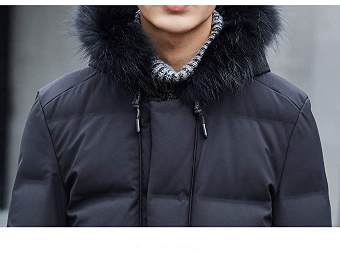 Amazon.com: Winter Jacket Men Natural F-ox f-ur Collar Coat 90% Down Jacket Men Clothes: Clothing