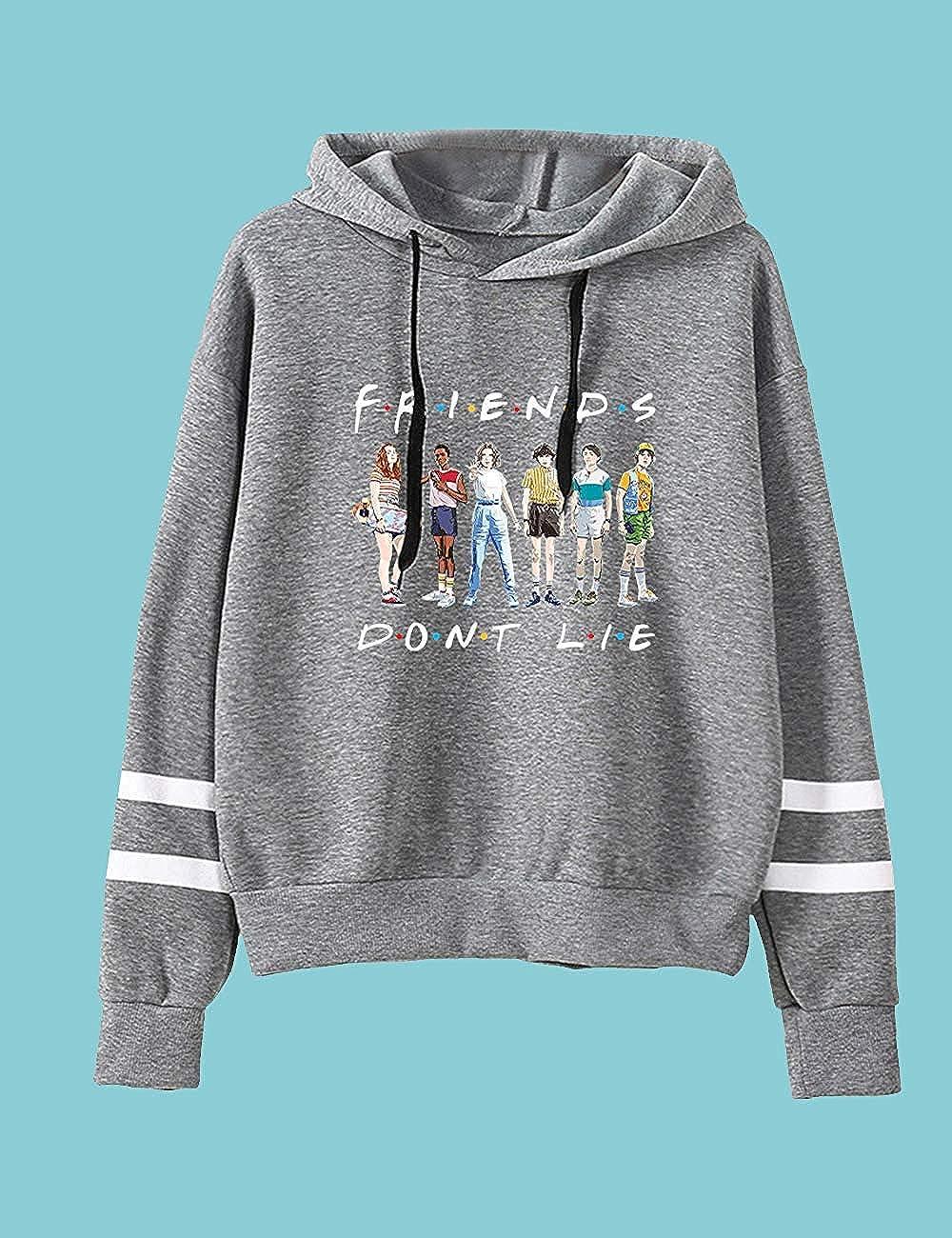 PZJ Womens Stranger Things Sweatshirt Friends Dont Lie Printed Striped Pullover Hoodie Casual Streetwear Hoody Jumper