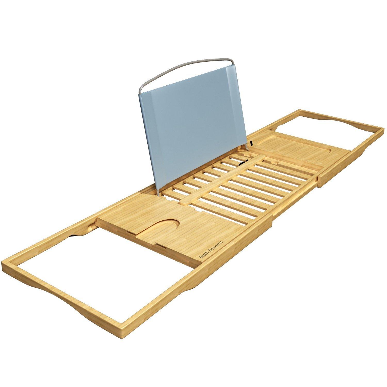 Bamboo Tray Bathtub Caddy Extendable Sides Bath Tablet Holder Tablet ...