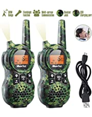 iBaseToy Rechargeable 8 Channels Walkie Talkies for Kids 2pcs, Up to 6KM Long Distance 446MHz with Flashlight and LCD Screen for Toddlers Children Boys Girls Adults (Camouflage)