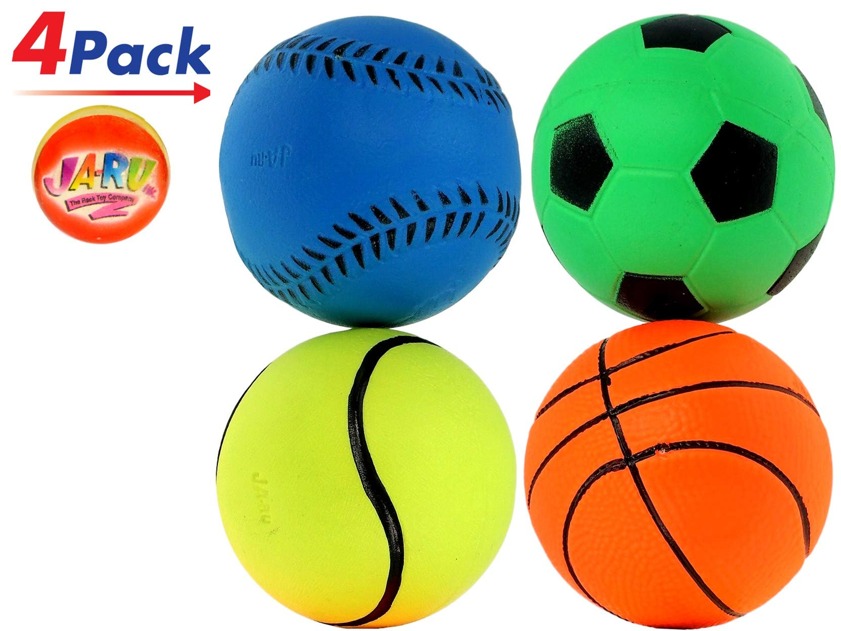 Rubber Bouncy Ball Sports Style (Pack of 4) 2.5'' Hi Bounce Same Like Pinky Balls for Play or Massage Therapy. Plus 1 Small JA-RU Ball. # 986-4p by JaRu