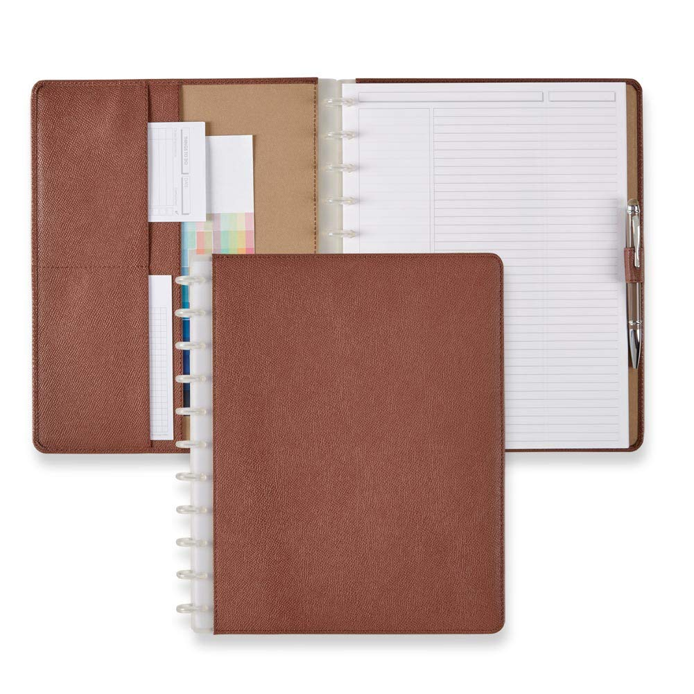 Levenger Circa Rose Taupe Leather Foldover Notebook - Leather Discbound Notebook cover for professional women, 60 ruled 90-gsm paper, 11-disc, 9.75'' x 12.4''| Levenger (AL15620) - Letter by Levenger