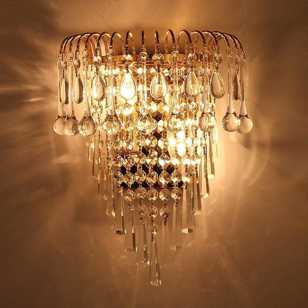 MOMO Luxury K9 Crystal Wall Lamp European Creative Living Room Lights Gold Led Bedside Lamps by MOMO (Image #2)