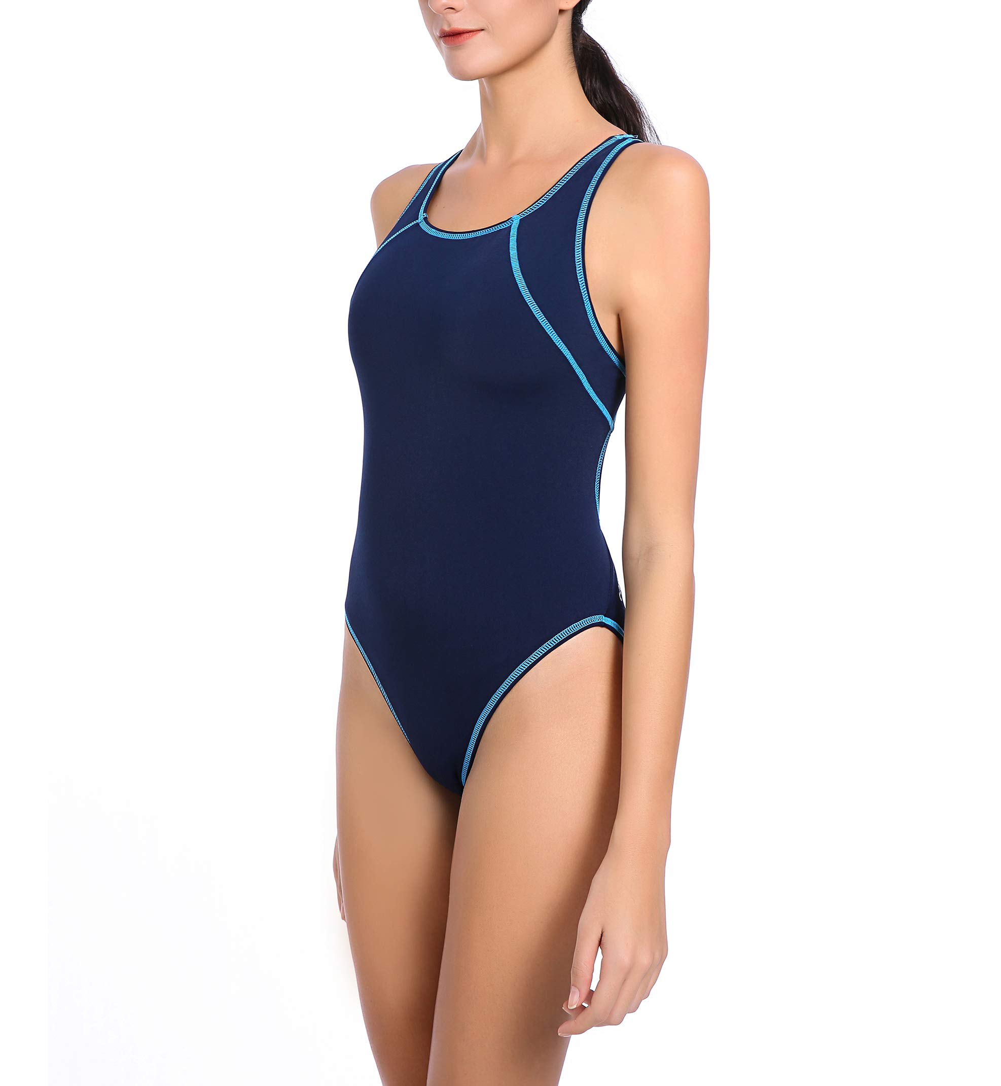 e54cf8cde58 Easyglide Athletic one-Piece Women Swimsuit Bathing Suit Comfortable  Polyester Fabric for Competition Exercise Training (36, Navy & Aqua)