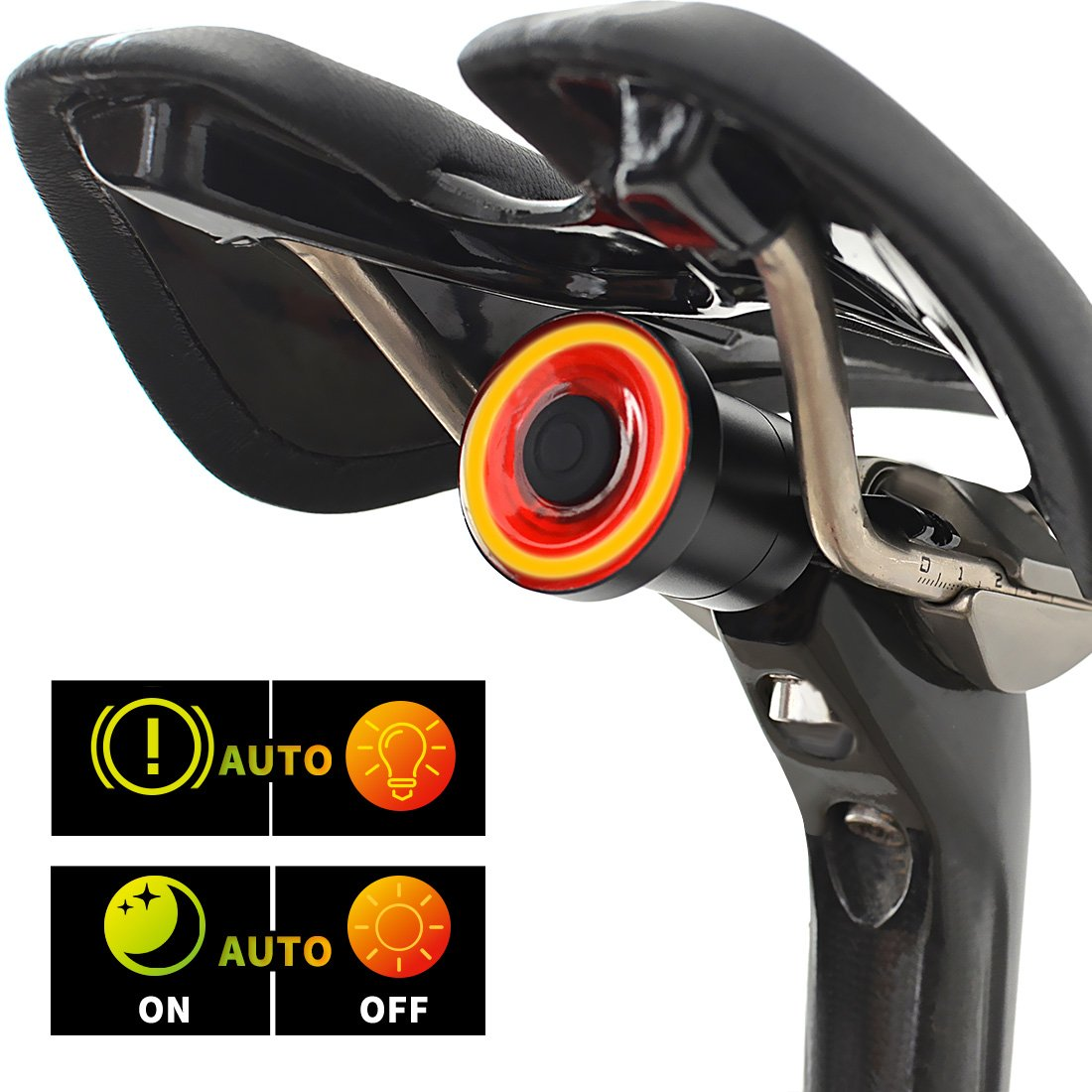 Smart USB Rechargeable Bike Tail Light,Ultra Bright,Auto Start/Stop,Brake Sensing,IPx6 Waterproof,Full Alu CNC Chassis,Cycling Safety Commuter Light,Easy To Install.
