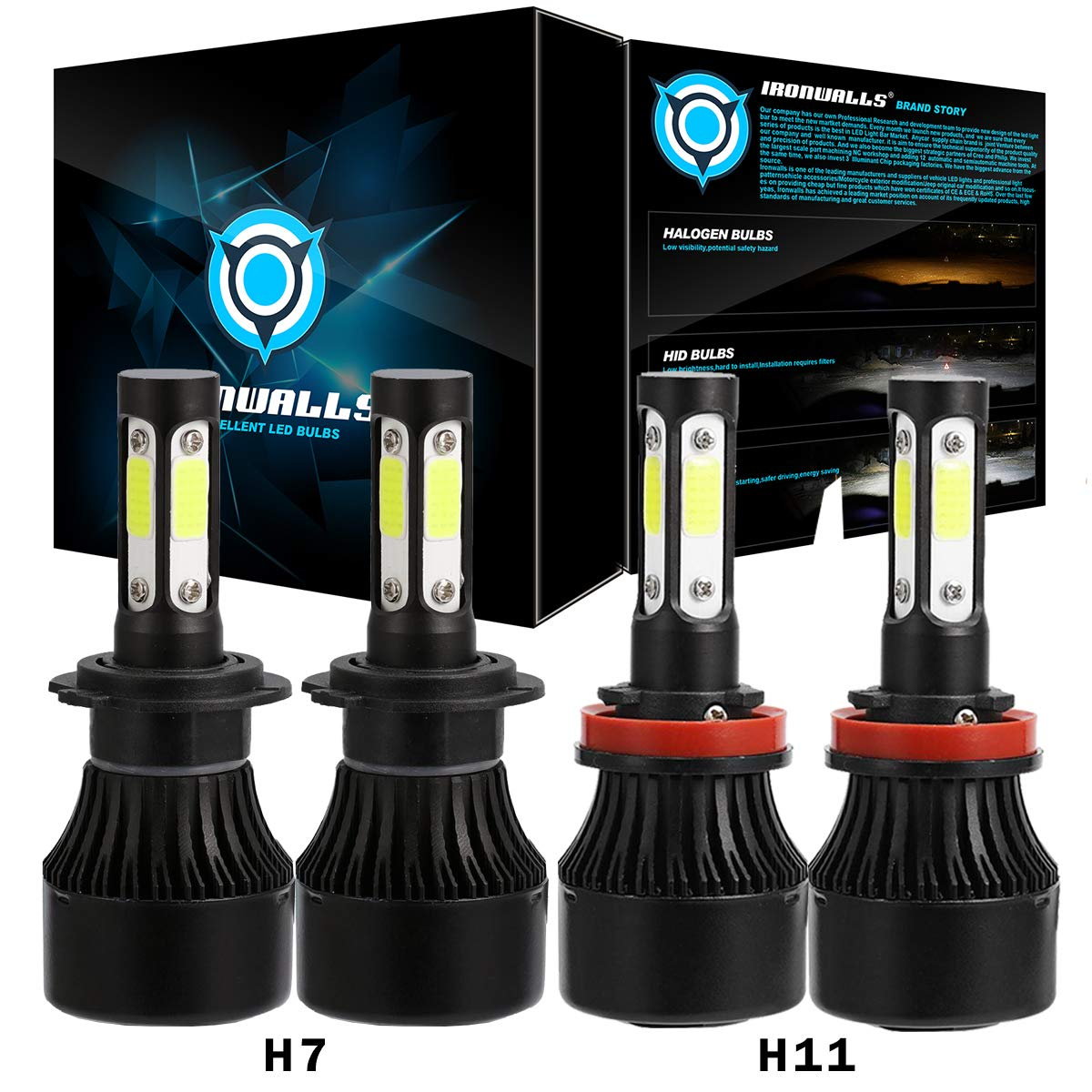 IRONWALLS F-X7 Series 2 Sets H7+H11 LED Headlight Bulbs All-in-one Conversion Kit 72W 8000LM 6500K COB Chips Super Bright White -1 Year Warranty