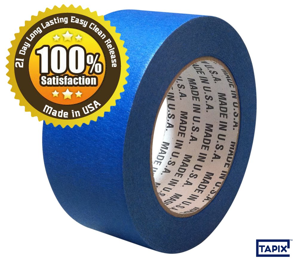 4 INCH BLUE PAINTERS MASKING TAPE - 21 DAY LONG LASTING EASY CLEAN RELEASE - 5.5 ML - 4' x 60 YD - MADE IN USA - GREAT FOR A VARIETY OF SURFACES - 100% SATISFACTION AND