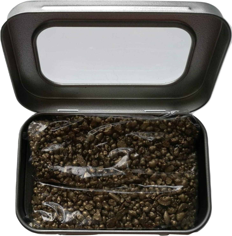 Incienso de resina natural | dorado (tres reyes) | 50 gramos en una lata de color plateado con una tapa de ventana con bisagras