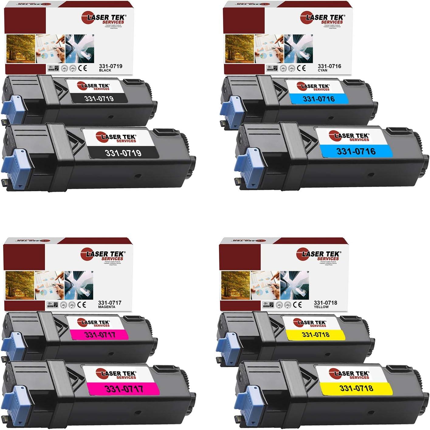 Laser Tek Services Compatible 331-0719 331-0716 331-0717 331-0718 Toner Cartridge Replacement for Dell 2150 2150CDN 2150CN 2155 2155CDN 2155CN Printers (Black, Cyan, Magenta, Yellow, 8 Pack)