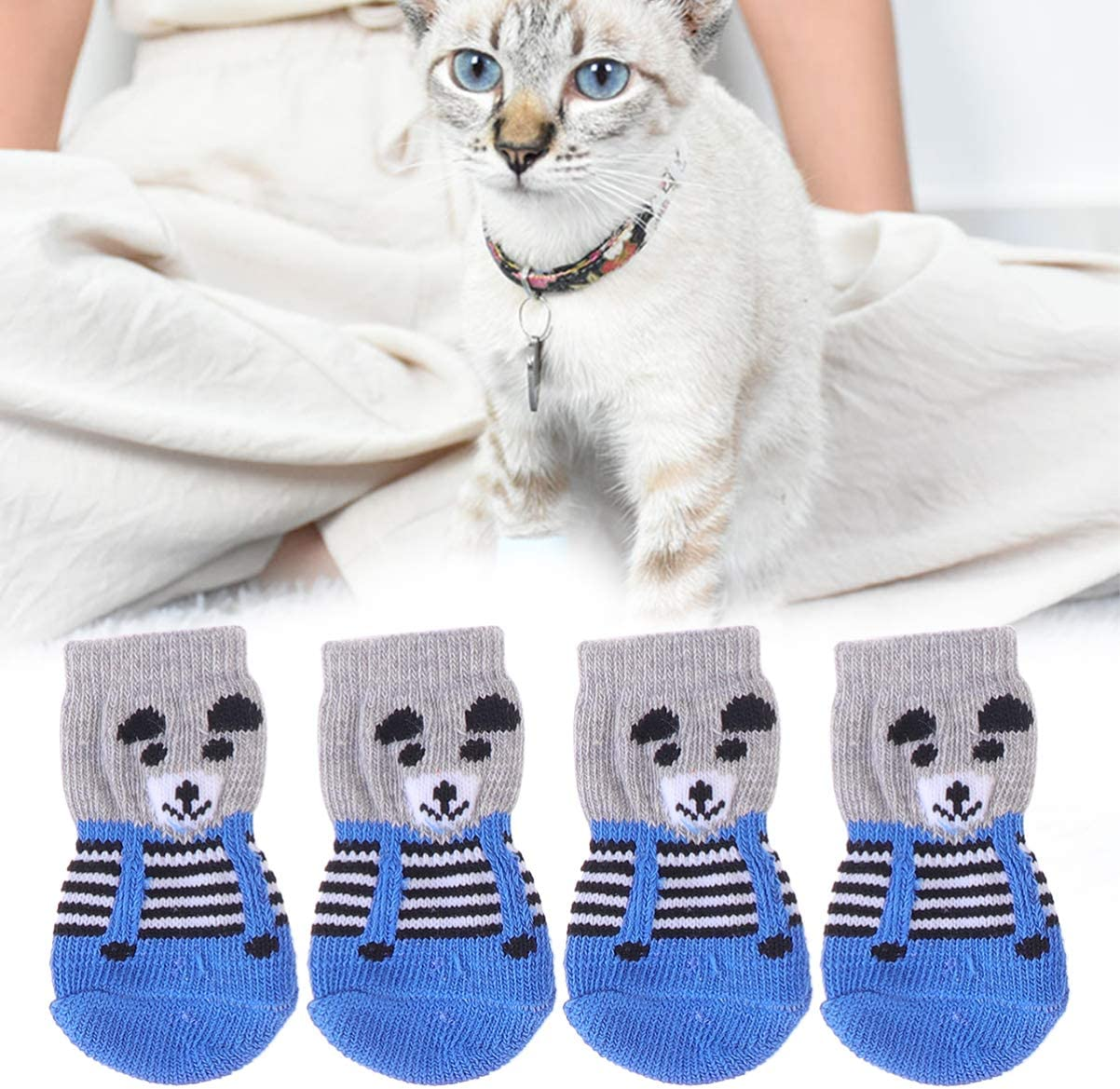 Paw Protection Pet Socks with Rubber Grips,Small Dog Booties Rain Boot for Puppy Cats POPETPOP 4 Pcs Anti-Slip Dog Socks Traction Control for Indoor Wear Random Color Size S